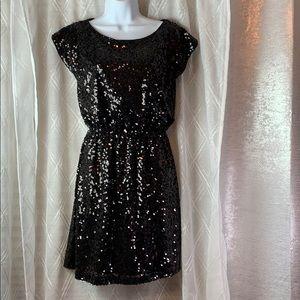 Drop shoulder all over sequin short dress